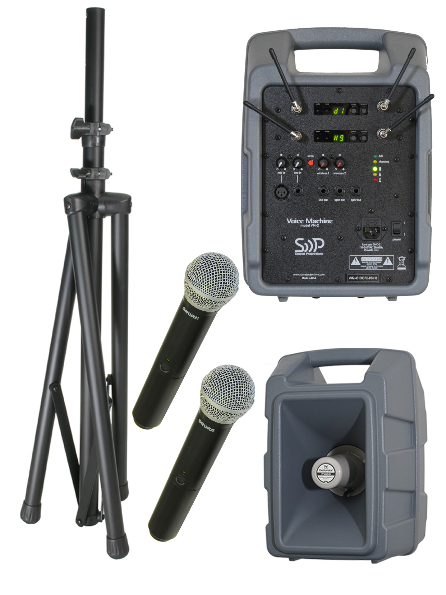Voice Machine VM2 UHF Wireless Handheld Mic Dual Package by Sound Projections